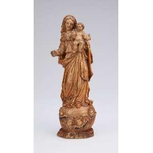 Nossa Senhora do Rosário<br />Imagem de marfim de Gôa, com vestígios de policromia. 21 cm de altura. Índia portuguesa, séc. XVIII.