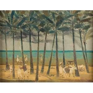 ENRICO BIANCO<br />Colhedeiras de coco. Osm, 39 x 49 cm. Assinado e datado de 1998 no cid. <br />Coleção Augusto Velloso.
