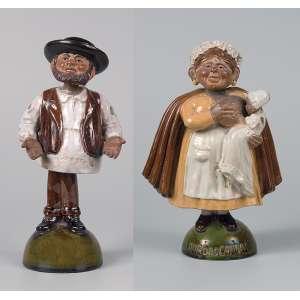 BORDALO PINHEIRO<br />Duas figuras moldadas em terracota vitrificada, ambas com movimento articulado, retratando Zé Povinho. <br />25 cm e Ama das Caldas 22 cm. Portugal, séc. XX.