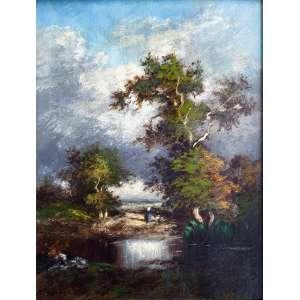 JULES DUPRÉ (1811-1889)<br />Fontainebleau. Osm, 36 x 27cm. Assinado no cid. (Atribuído). <br />Coleção Augusto Velloso.