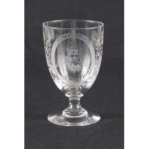 Cálice de cristal com a esfinge de D. Pedro II. 12 cm de altura. França, séc. XIX.
