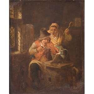 JAN JOSEF HOREMANS-THE ELDER - (1682-1759) <br />Les Amateurs. Osm, 25 x 19 cm. (Atribuído).<br />Coleção Augusto Velloso.
