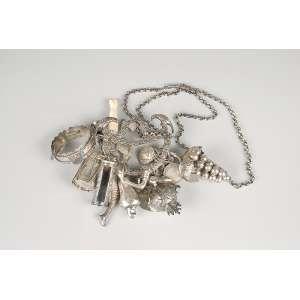 Penca de balagandãs de prata com 20 peças, - fecho e corrente. Brasil, séc. XIX.