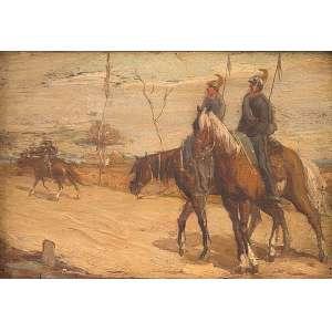 GIOVANNE FATTORI - (1825-1908)<br />Lanceiros. Os placa, 14 x 20 cm. Atribuído. <br />Coleção Augusto Velloso.
