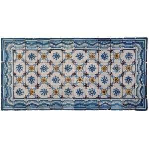 Painel diptico de azulejos portugueses, cada um constituído de 36 azulejos de cerâmica vitrificada de<br />14 x 14 cm cada, totalizando a medida total de 85 x 170 cm. Séc. XVIII.