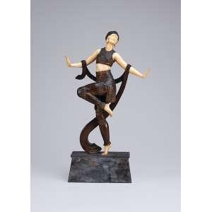 JOÉ DESCOMPS<br />Danseuse de charleston. Escultura de bronze e marfim sobre base de mármore. 42 cm de altura. <br />Reproduzida em Art Deco Sculpture, de Victor Arwas, página 85.
