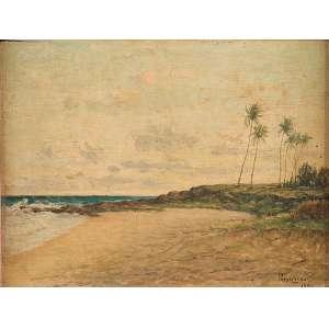 PRESCILIANO SILVA<br />Praia da Bahia. Osm, 20 x 33 cm. Assinado e datado de 1951 no cid. <br />Coleção Augusto Velloso.