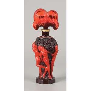 Perfumeiro de vidro artístico. Bojo decorado com ninfas em relevo. <br />20 cm de altura. França, séc. XX.