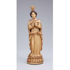 Nossa Senhora<br />Imagem de marfim de Gôa com coroa também de marfim. Detalhes da indumentária com douração. <br />26 cm de altura. Índia portuguesa, séc. XVII.