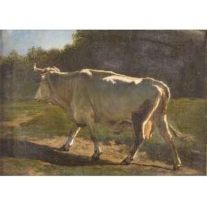 EMILE VAN MARCKE DEL LUMEN (1827-1890)<br />La vache Suisse. Ost, 38,5 x 52,5 cm. Assinado no cie. <br />Coleção Augusto Velloso.