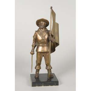 Bandeirante. Escultura de bronze, sobre base de mármore. 33 cm de altura.