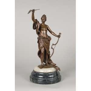 Diana caçadora. Escultura de bronze sobre base de ônix. <br />Assinada. E. BOS. 38 cm de altura.