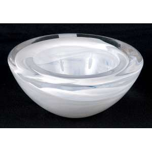 Bowl de pesado cristal leitoso. 17,5 cm de diâmetro x 8 cm de altura. <br />Manufatura Kosta Boda.