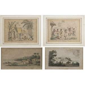 Conjunto de quatro gravuras aquareladas e emolduradas, retratando cenas brasileiras.<br />13 x 18,5 cm, as duas maiores.<br />Coleção Augusto Velloso.
