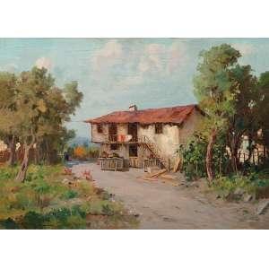 GIUSEPPE CASCCIARO (1863-1941) <br />Paisagem rural. Osm, 50 x 70 cm. Assinado no cie.