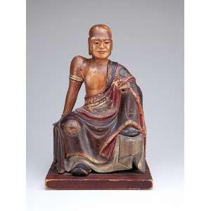 Buda, esculpido em madeira policromada. 24 x 22 x 38 cm de altura. China, séc. XIX.