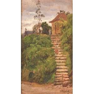 JOÃO BAPTISTA DA COSTA<br />Escadaria. Osm, 24 x 13 cm. Assinado no cid. Ex-coleção Affonso de Taunay que doou para ser rifado em prol da Revolução de 32. Ex-coleção Veroima P. Cintra. Coleção Augusto Velloso.