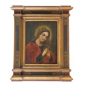 ANÔNIMO <br />Nossa Senhora (Séc. XVII). Pintura sobre madeira emoldurada como nicho, com policromia e douração, 49 x 37 cm.<br />Coleção Augusto Velloso.