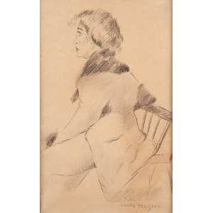 ANITA MALFATTI<br />Mulher sentada de perfil. Crayon sobre papel. 28 x 18 cm. Assinada no cid.<br />Documento de autenticação por Elizabeth Cecília Malfatti, datado de 2004.