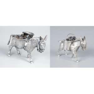 Conjunto de dois paliteiros de prata. Burricos com dois cestos cada. <br />7 cm de altura, o maior. Teor 925. México, séc. XX.