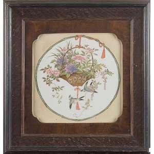 Placa de porcelana decorada com pintura de cesto com flores e pássaros. <br />42 x 32 cm. Instalado em moldura de madeira.