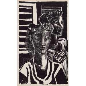 DI CAVALCANTI<br />Duas mulheres. Xilogravura, 50 x 31 cm. Assinado no centro inferior.