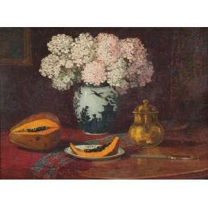 CLODOMIRO AMAZONAS<br />Vaso com flores, mamão e jarra. Ost. 54 x 74 cm. Assinado e datado de 1926 no cid.