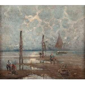 MILESI, Alessandro (1856-1945)<br />Marinha com pescadores. Ost, 50 x 58 cm. Assinado no cid.