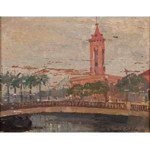 GERSON AZEREDO COUTINHO <br />Ponte no Canal do Mangue. Osm, 19 x 24 cm. Assinado e datado de 1935 no cid. <br />Carimbo da Coleção Américo Ribeiro dos Santos.