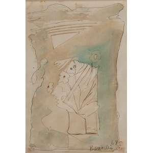 ALDO BONADEI<br />Sem título. Aquarela sobre papel, 28 x 19 cm. Assinado e datado de 64 no cid.