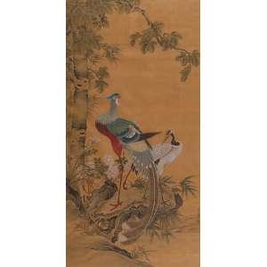 AUTORIA NÃO IDENTIFICADA<br />Casal de pássaros. Aquarela sobre seda. 126 x 66 cm. Assinado em ideograma chinês no cid.