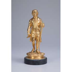 Mensageiro, escultura de bronze dourado, sobre base de mármore. <br />21 cm de altura. Europa, séc. XX.