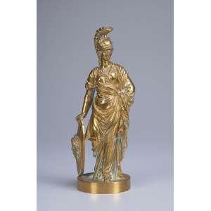 Gladiador. Escultura de bronze polido sobre base circular. <br />23 cm de altura. França, séc. XX.