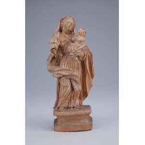 Nossa Senhora com o Menino. Imagem de madeira com resquícios de pátina e belo panejamento. <br />25 cm de altura. Brasil, séc. XIX. (falta um dedo na mão direita).