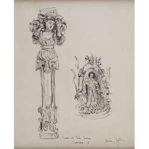 RENÉE LEFÈVRE<br />Figuras sacras. Bico de pena, 27 x 22 cm. Assinado no cid, situado e datado, <br />Museu de Arte Sacra - Salvador - 75.