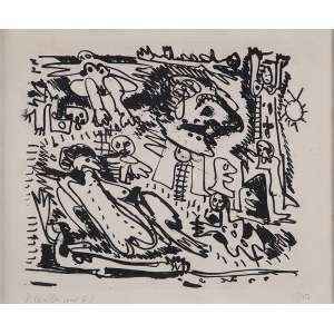 RUBENS GERCHMAN<br />A praia. Litogravura 10/10. 21 x 27 cm. Assinado e datado de 62 no cie.<br />No verso etiqueta da Galeria Luisa Strina.
