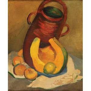JUDITE GABUS<br />Composição com pote e frutas. Ost, 53 x 45 cm. Assinado no cie, situado em Paris.