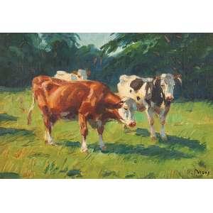 JANOS VISKY<br />Vacas no pasto. Ost, 24,5 x 34,5 cm. Assinado no cid. <br />No verso Carimbo da Coleção Américo Ribeiro dos Santos.
