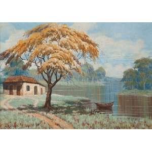 ARMANDO RAMOS<br />Paisagem com lago. Ost, 50 x 70 cm. Assinado no cie.