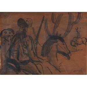 CARIBÉ<br />Cangaceiros. Nanquim sobre cartão, 19 x 26 cm. Assinado no cid.
