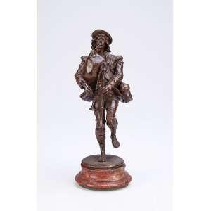 Tocador de fole. Escultura de bronze sobre base marmorizada. <br />19 cm de altura. Europa, séc. XX.