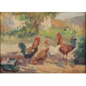 ARMANDO VIANA<br />Galos, galinhas e patos. Osm, 24,5 x 33,5 cm. Assinado e datado de 1947 no cid.