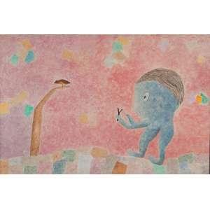 JOSÉ NEMIROVSKY<br />Menino com bodoque. Acrílica sobre tela, 74 x 110 cm. Titulado, assinado e datado de 84 no verso.
