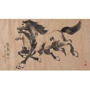 CHINA (Séc. XX)<br />Cavalos. Gravura, 99 x 57 cm. Assinada em ideograma.