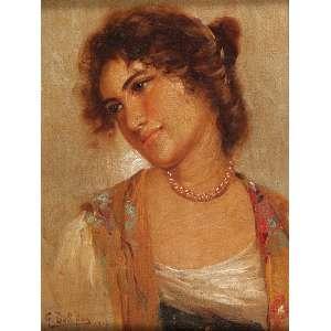 GUSTAVO DALL'ARA<br />Figura feminina. Osm, 23 x 18 cm. Assinado e datado de 1916 no cie.