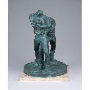 GALILEO EMENDÁBILE<br />Lutadores. Escultura de bronze patinado sobre base de mármore. 41 cm de altura. Assinada e datada de 1938.