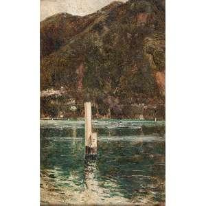 AUGUSTIN SALINAS<br />Lago de Como. Ost, 37,5 x 23 cm. Assinado, localizado e datado de 1912 no cie.