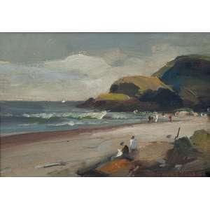 DURVAL PEREIRA<br />Marinha com praia e figuras. Os cartão, 14 x 19,5 cm. Assinado no cid.