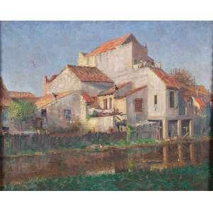 GIUSEPPE PERISSINOTTO<br />Paisagem com casas. Ost, 41 x 51 cm. Assinado no cid.