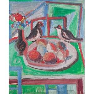 GUIDO TOTOLI<br />Composição com pássaros. Ost, 73 x 60 cm. Assinado no cid.
